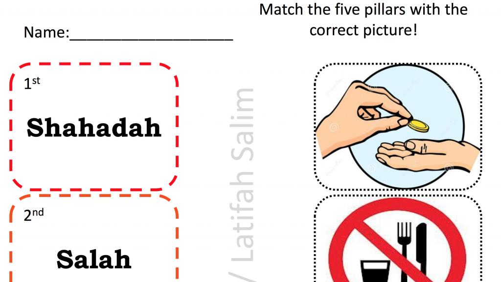 5 pillars of islam matching activity safar resources beta. Black Bedroom Furniture Sets. Home Design Ideas