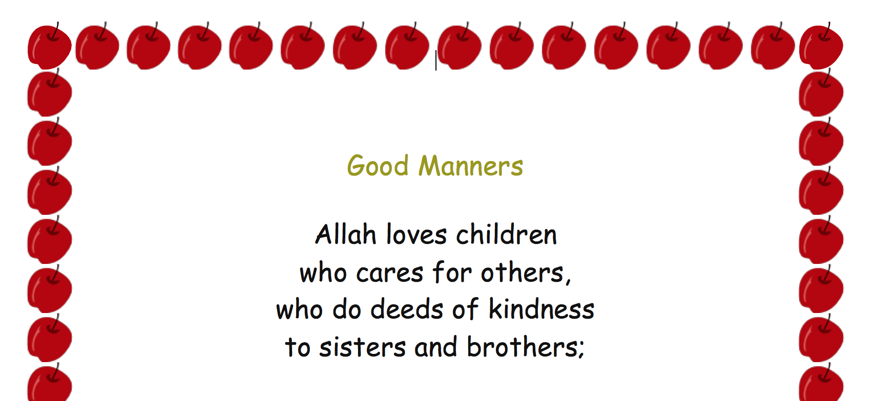 Islamic Manners Poem and Worksheet Safar Resources Beta – Manners Worksheet