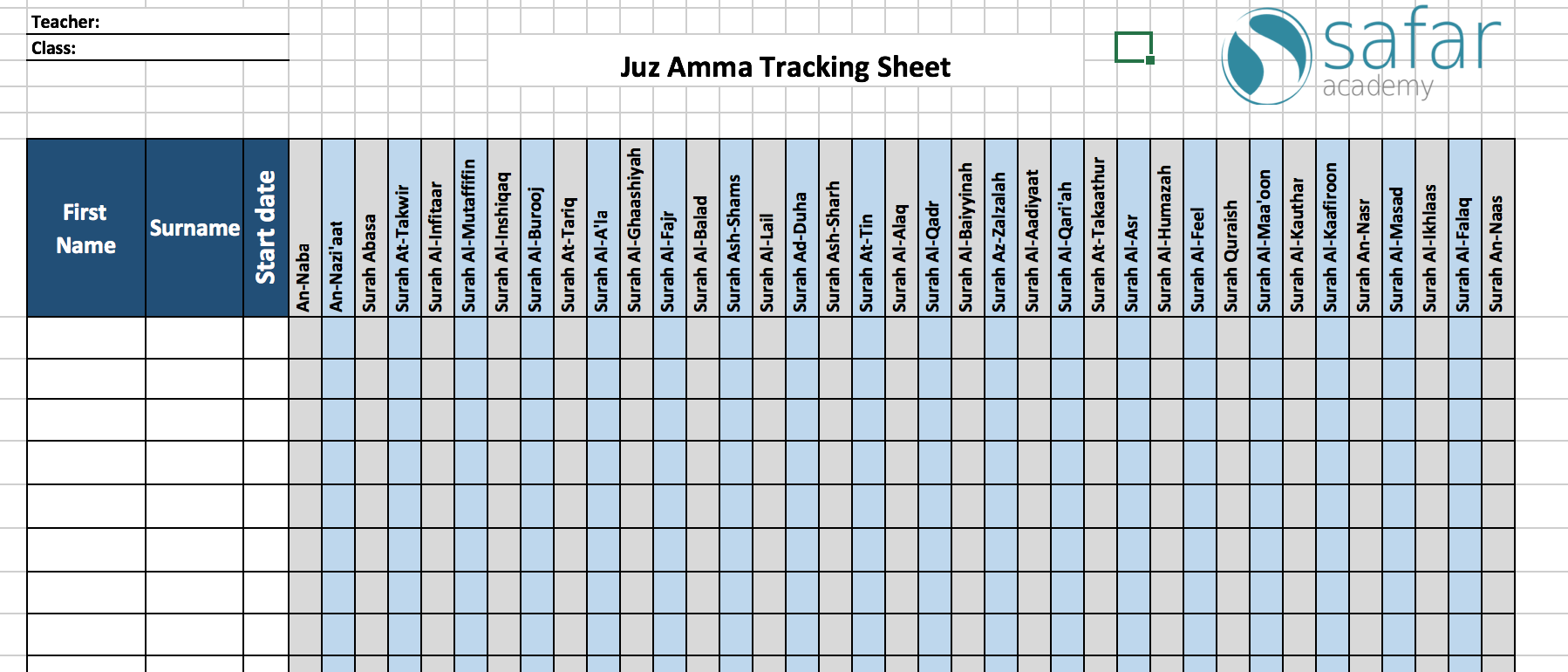 Juz Amma Tracker – Safar Resources
