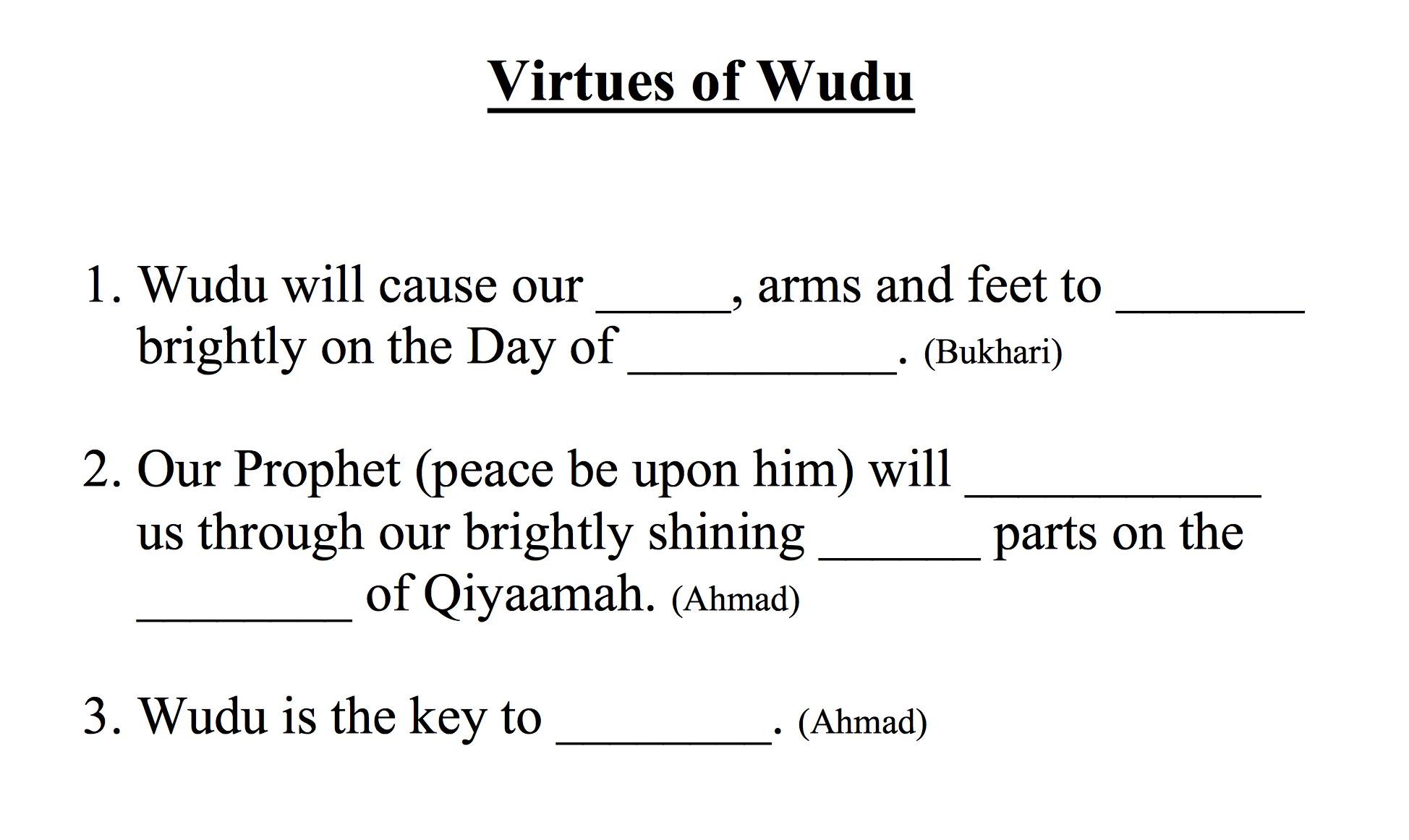 12 Virtues virtues & when to make wudu worksheet – safar resources