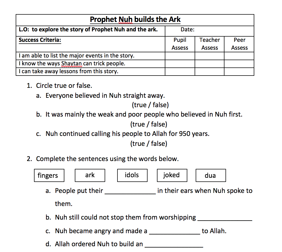 Prophet Nuh Pt2 (Building the Ark) Worksheet u2013 Safar ...