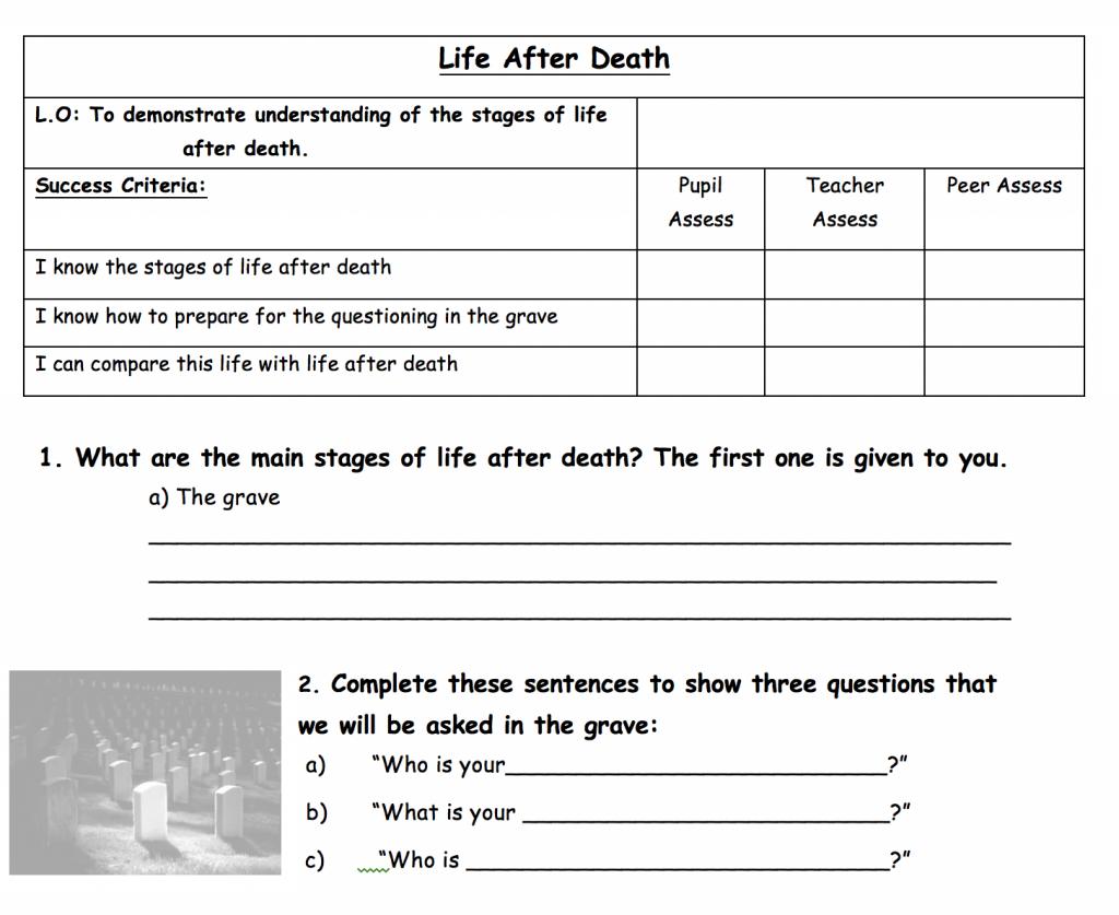 Life After Death Worksheet Safar Resources Beta