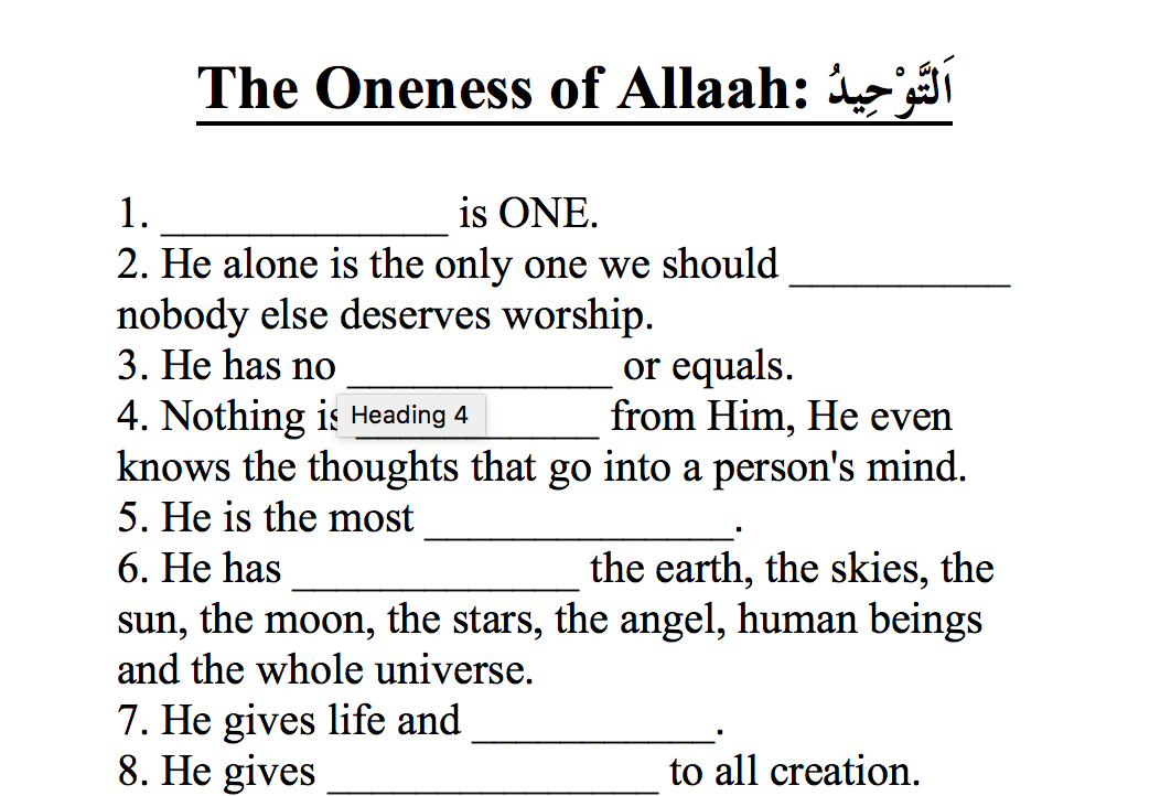 Tawheed Oneness of Allah Worksheet – Safar Resources – Beta