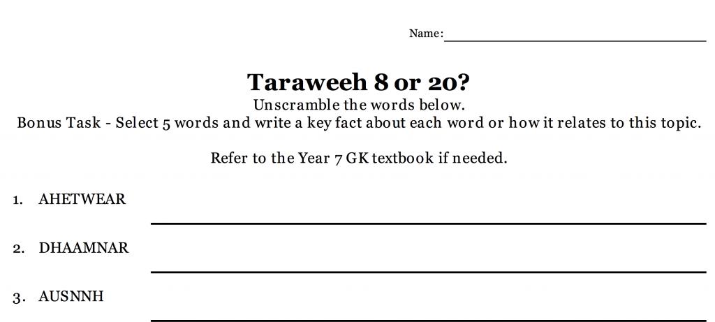 Taraweeh, 8 or 20? Revision – Unscrambling Activity – Safar