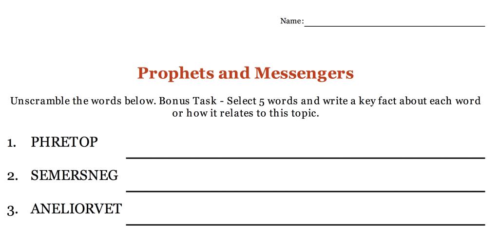 Prophets & Messengers Revision – Unscrambling Activity – Safar