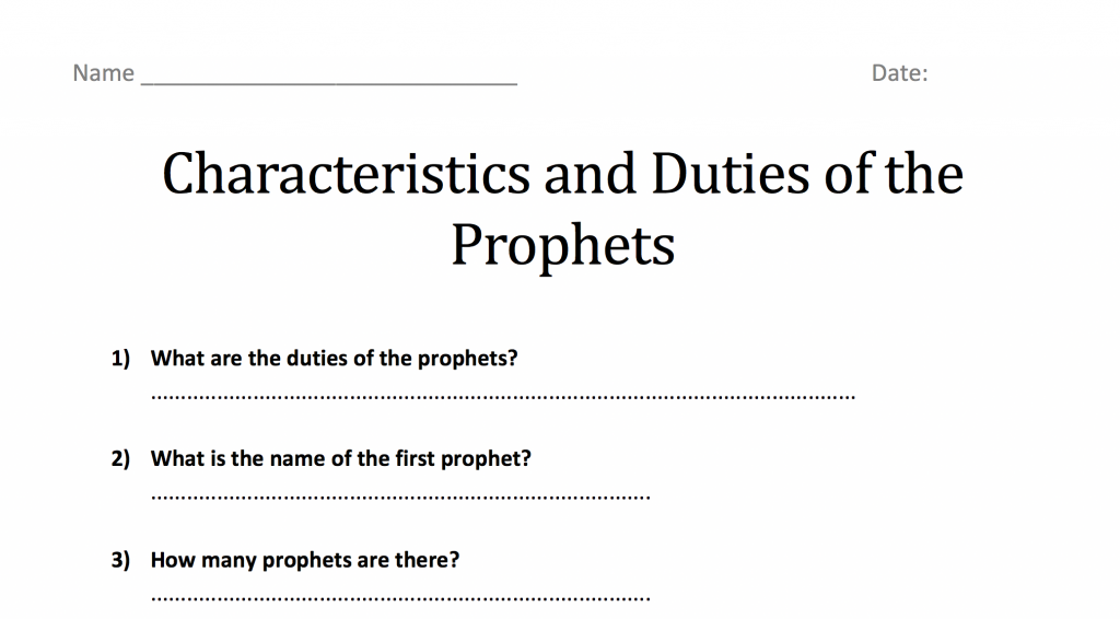 Characteristics and Duties of the Prophets – Worksheet