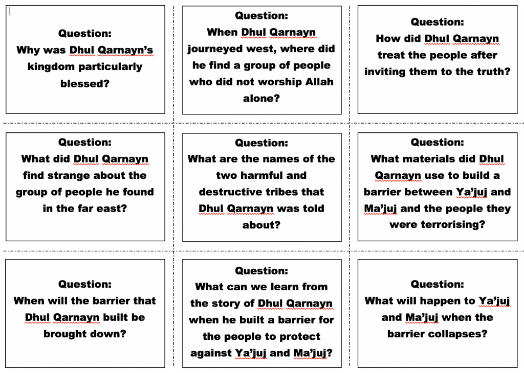 Story of Dhul Qarnain Flash Cards – Safar Resources – Beta