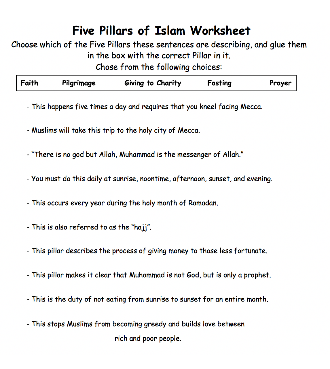 five pillars of islam worksheet 1 safar resources beta. Black Bedroom Furniture Sets. Home Design Ideas